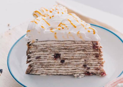 White Chocolate Cranberry Crepe Cake